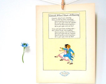 French Nursery Rhyme - Little Girl and Boy Dancing - 1927 Children's Book Page 11 x 8