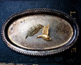 2 Vintage Brooches - Leaf and Duck - Gold Tone