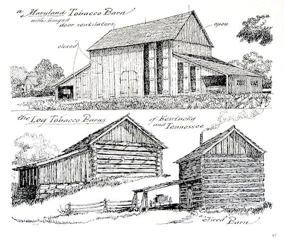 Maryland Tobacco Barn Log Tobacco Barns 1967 Vintage Print