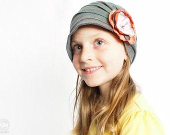 Girl charcoal hat , girls hats lightweight ,fashion children hat, kids flapper, stylish handmade hat cozy cap cotton handmade hat