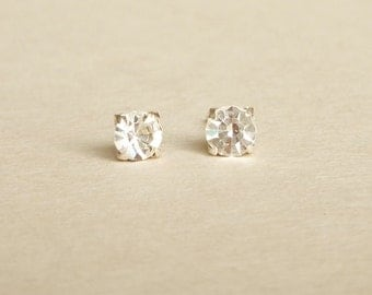 4 mm Small Clear Crystal 925 Sterling Silver Stud Earrings - Bridesmaid Gift - Gift for Her - Hypoallergenic Second Hole Earrings