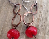 Red Rocks - Czech Glass, Copper and Sterling Silver Earrings