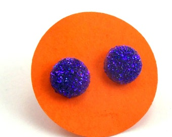 Purple Glitter Dot Earrings