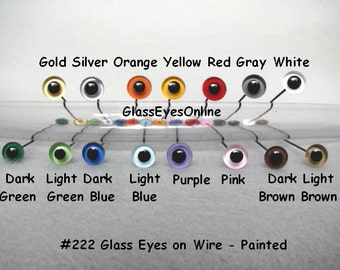15 PAIR 4mm or 5mm or 6mm or 7mm or 8mm PAINTED Glass Eyes on WIRE for teddy bear, doll, Decoy, Fish Lure, needle felted sculpture ( 222 )