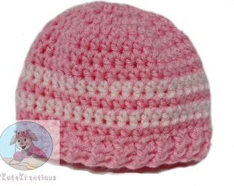 Crochet baby hats, Newborn hat, Newborn baby hat,  Pink striped hats, Crochet baby hat, Crochet baby caps, hospital beanies