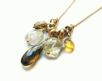 Provo Necklace with Whisky Topaz Rutilated Quartz Citrine Handmade Gold Summer Fashion