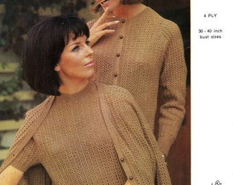 Vintage Ladies Cardigans with Round and V Neck, Cardigan with Short Sleeves, Knitting Pattern, 1960 (PDF) Pattern, Emu 2492
