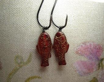 Fish Hook Earrings - Fish Earrings - Fishing Earrings - Red Fish Beads - Caught- Hooked - Herring - Fun Valentine - Whimsical Earrings