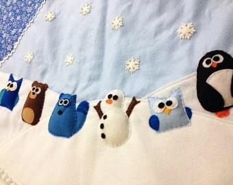 "Tree Skirt, Christmas Tree Skirt, Winter Wonderland - Large 48"" Diameter, Snowman, Blue Snowflake, Woodland Animals, Felt Animals"