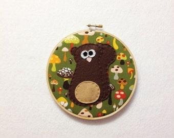 Fabric Wall Art - Tom the Brown Squirrel - Mushroom Mayhem