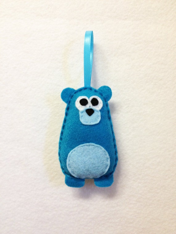 Bear Ornament, Christmas Ornament, Felt Holiday Ornament, Patty the Teal Bear - Made to Order
