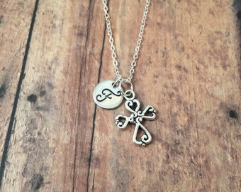 Cross initial necklace- cross jewelry, Christian jewelry, religious jewelry, Christian necklace, first communion gift, silver cross necklace