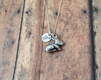 Bunny initial necklace - rabbit necklace, silver bunny necklace, rabbit charm necklace, Easter necklace, pet rabbit necklace, animal jewelry