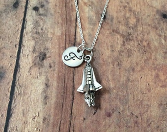 Spaceship initial necklace - rocket ship necklace, space jewelry, outer space necklace, rocket jewelry, silver spaceship necklace