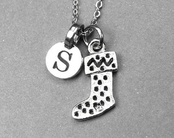 Christmas Stocking Necklace charm silver plated pewter, initial necklace, initial hand stamped, personalized, monogram