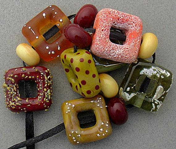DSG Beads - Artisan Debbie Sanders Handmade Organic Lampwork Glass - California Dreaming (Made To Order) Square Bead Set