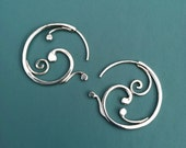 Small Swirling sterling silver earrings, Rachel Wilder Handmade Jewelry