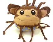 Stuffed Animal Baby Ball Toy - Bananas the Spider Monkey - ZadyCreature - Brown with Blue OR Yellow