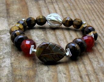 Agate Tiger Eye Boho Beaded Bracelet,  Brown Woodland Carved Leaf Bronzite, for Her Under 200