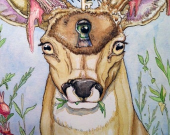 Gnosis, large print on watercolor paper, from the Going Stag series
