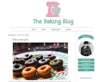 Premade Blogger Template - The Baking Blog - Simple - Girly -  Pink - Blogger Theme - Blogger Design - Instant Download