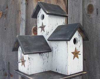Primitive Country  Condo Birdhouse White and Black Three Nesting Boxes