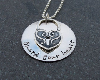 Guard Your Heart Proverbs 4:23 Personalized Hand Stamped Jewelry Religious Inspirational Jewelry Ready to Ship