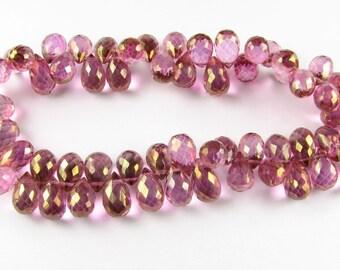 Stunning Pink Mystic Quartz Faceted Teardrop Briolettes 7mm - 8mm (4 beads)