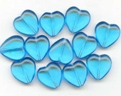 Vintage Translucent Turquoise Glass Heart Beads (12)