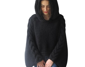 Plus Size Knitting Sweater Capalet with Hoodie - Over Size Black Cable Knit by Afra
