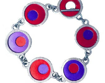 Two Tone Silver/recycled aluminum red/purple bracelet