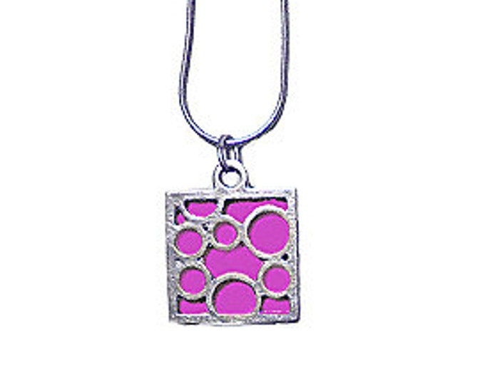Small Square Fuchsia Bubble pendant