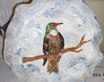 Handbuilt SERVING PLATE with HUMMINGBIRD