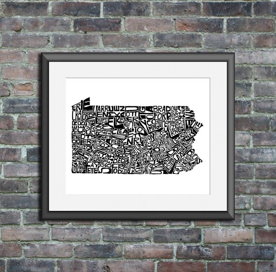 Pennsylvania typography map art print 8x10 customizable personalized state poster custom wall decor wedding housewarming gift