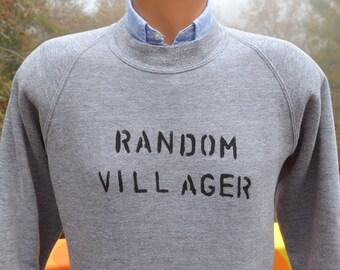 vintage 80s sweatshirt RANDOM VILLAGER sweater raglan rayon tri blend gray crewneck Medium wtf funny