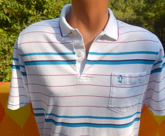 Vintage 80s golf shirt polo penguin stripe grand by skippyhaha for Golf shirt with penguin logo