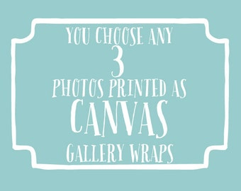 You choose 3 photos printed as canvas gallery wraps, beach canvas art, nursery decor, childrens wall art, shabby chic decor, typography art