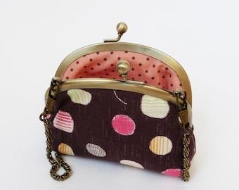Coin purse - mini purse - brown polka dot fabric