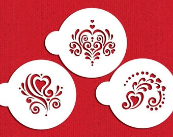 Amore Cookie Stencil Set for Cookies, Cupcakes & Cakes - Designer Stencils (C810) face painting