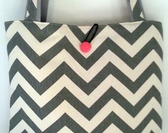 Duck Cotton Tote-Handbag Grey White Pink Chevron-Womens Shoulder Bag-Everyday Weekender