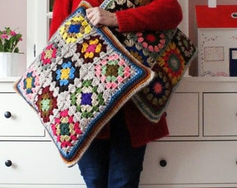 XL crochet 'granny square' cushion cover