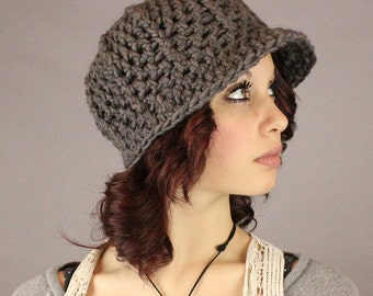 SALE Newsboy cloche adult hat brim ball cap natural wool winter Slate Grey