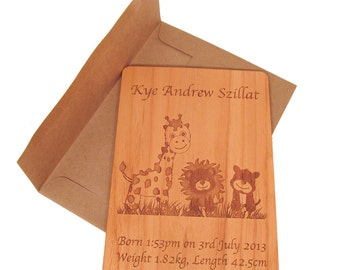 Wooden Baby Card - Baby Gift Keepsake Personalized