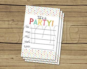 Printable Bright Polka Dot Fill in the Blank Party Invitation