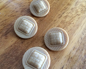 Vintage Glass Buttons - Four/ 1930s Buttons / 1940s Buttons / Vintage Glass Buttons / Vintage Sewing Notions / Vintage Sewing Supplies