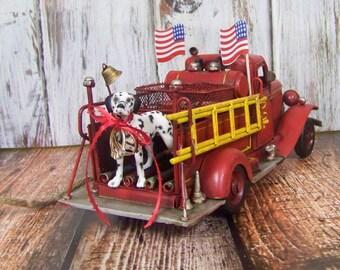 Ring Bearer Pillow, Ring Bearer Fire Truck, Wedding Ring Holder, Fireman Ring Holder,  Dog Ring Holder