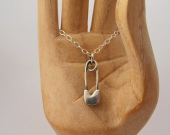Sterling silver safety pin necklace