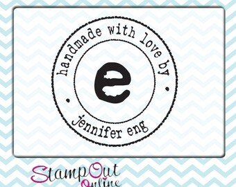 custom rubber stamp with a vintage typewriter font to label projects  --7524