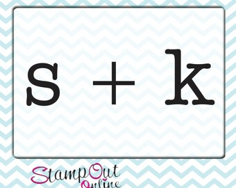 custom monogram rubber stamp with couples initials - wedding rubber stamp