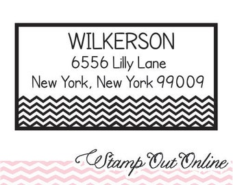 Chevron stripe custom return address stamp - self inking --2821